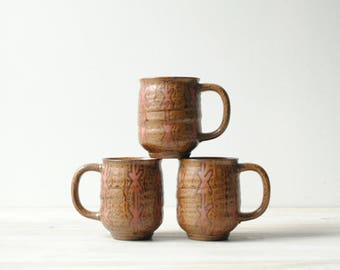 Vintage Ceramic Mugs, Coffee or Tea Mugs, 12 oz Mugs