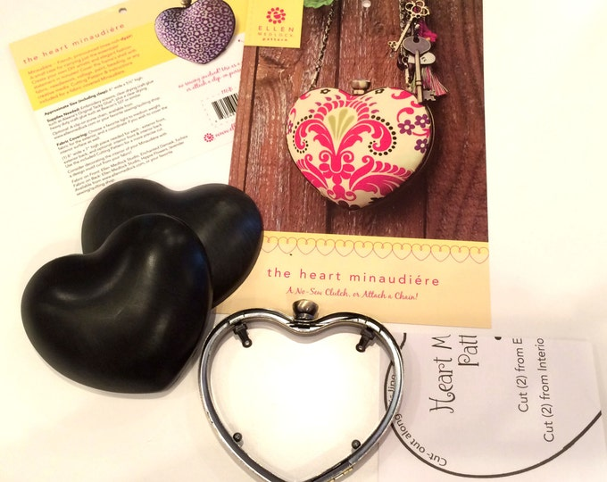 The Heart Minaudiere Clam Shell DIY No-Sew Clutch Purse Pattern and Frame Set (#116B)