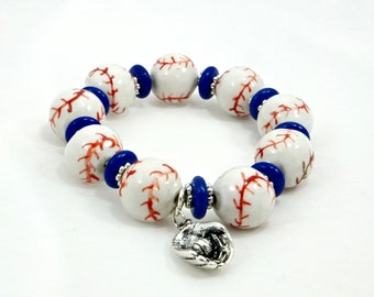 Let's Play Ball, Beaded Baseball Bracelet, Ball and Glove Charm, Handmade, Women's Accessories, Costume Jewelry, Fashion Jewelry, Gifts