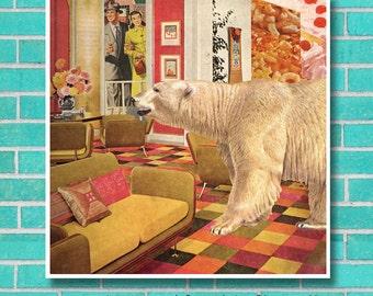 Roomscape polar bear surreal animal collage instant download unique wall art, home decor, retro mid century, vintage interior kitsch print