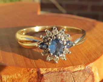 Vintage 9k yellow gold light blue sapphire and diamond ring