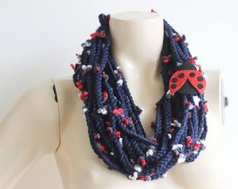 Navy Infinity Scarf -Chain crochet scarf with Ladybug Pin