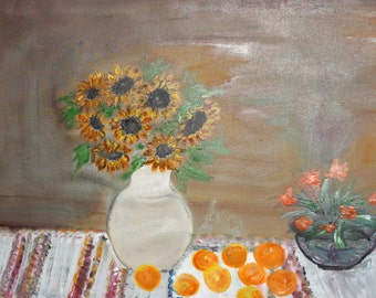 Impressionist still life sunflowers oil painting signed
