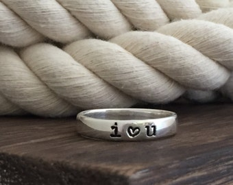 Sterling Silver Personalized Ring / Custom Silver Hand Stamped Band / Promise Ring /Monogrammed Ring / Mothers Day Stackable Ring