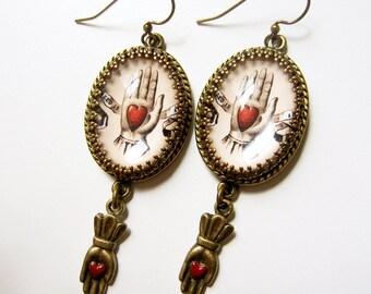 Miagro earrings, Mason Earrings, Odd Fellows, Heart in Hand,  Victorian Earrings, Masonic Symbol Earring, Loteria Earrings, heart hand charm