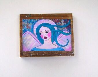 "Folk Art Angel woodblock Encaustic Print from Original Painting 6 1/2"" xd 5 1/2"""
