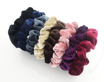 A Set of 8 Solid Color Thin Velvet Scrunchies Hair Elastic Fall Winter Women Hair Accessories