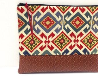Zipper Clutch Purse, Red Blue Cream Arizona Print, Brown Vegan Leather