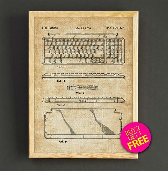 Keyboard patent art print computer keyboard blueprint wall malvernweather Images