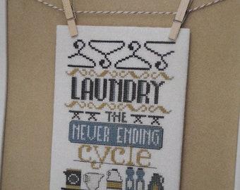 "Cross Stitch -"" LAUNDRY - The Never Ending Cycle"" - pattern w/Bonus chart"