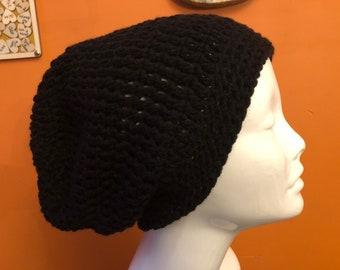 Crochet Black Slouchy Beanie