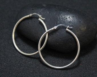 Thin Sterling Silver Hoop Earrings, Simple Sterling Hoops, Thin Silver Hoops, Simple Sterling Earrings, Plain Hoop Earrings, Minimalist Hoop