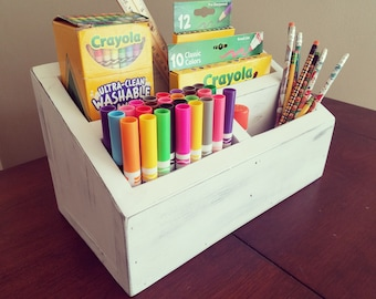 Rustic Crayon Caddy, Crayon Carrier, Crayon Organizer, Crayon Toolbox, Art Supply Organizer