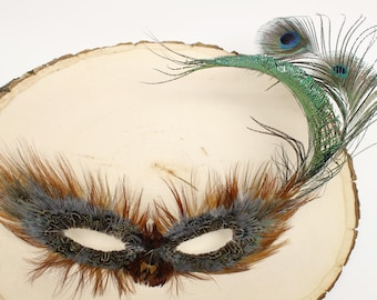 Teal Pheasant Domino Feather Mask