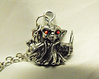 Silver Pendant Necklace,   Star Wars Yoda Pendant With Red Rhinestones Mens Womens Gift  Handmade