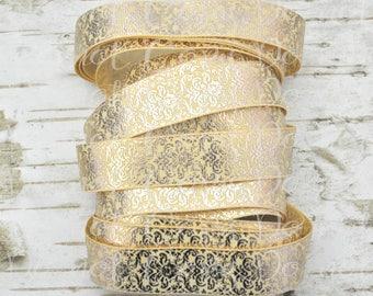 """7/8"""" Rose Gold Foil Damask on Chamois USDR grosgrain ribbon"""