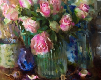 Pink Roses - original oil painting, alla prima oil painting, one of a kind
