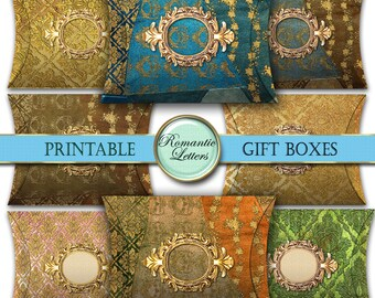 Digital gift box printable favor box wedding favor box jewelry gift box gift wrapping box ring gift box holiday digital download pillow box