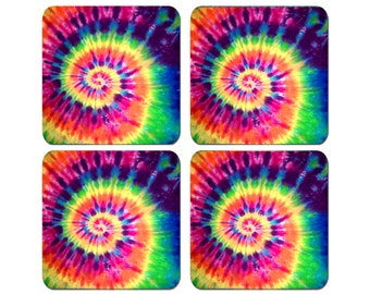 Tie Dye - Colorful Spiral Design - Set of 4 Coasters 1/4 inch thick Very High Quality -  Peace Sign Decor