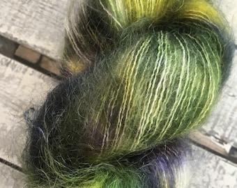 Variegated Hand Dyed Yarn-CROCUS-Hairy Toad-50gr skein of mohair yarn-72 Kid Mohair, 28 Silk-459 yards-Toad Hollow Yarn-Indie Dyed Yarns