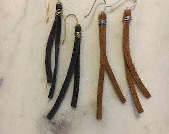 Boho Leather Tassel Earrings