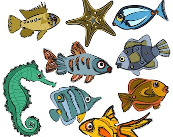 Sketched Fish with Color Clipart, Goldfish Clipart, Seahorse Clipart, Starfish Clipart, Angelfish Clipart, Digital Download