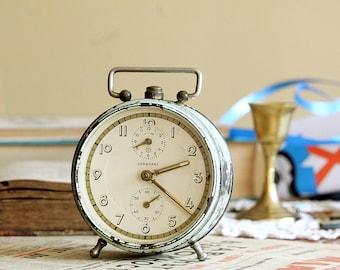 Green Vintage Clock - Alarm Clock - German Junghans Clock - Wind Up Clock - Mechanical Alarm Clock - Table Clock - Birthday Gift