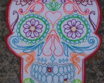 Day Of The Dead hand embroidered sew on patch or wall art