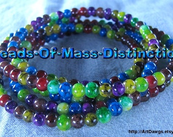 4mm Glass Jewel Beads - 1 36 Inch Strand - Multi-colored - Destash Sale