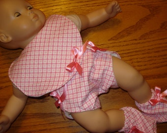 Pink and white  Baby  Doll Clothes Set  1 Bib  1 Diaper 1 pair of slippers flannel fabric