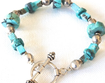 Turquoise Bracelet, Southwest Style Bracelet, Sterling Silver and Turquoise, Gift for Her, Blue, Green, Turquoise,Silver,Gift Idea,Indian