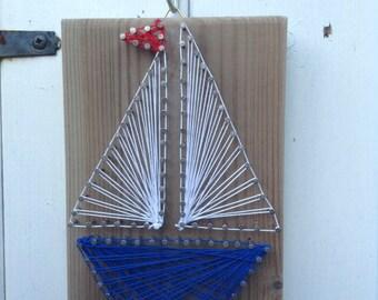 Driftwood String Art Boat Hanging