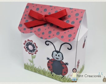 """PRINTABLE TREAT box """"Ladybug"""" DIY (digital template) gift idea, placeholders, favor box, gift box for party"""