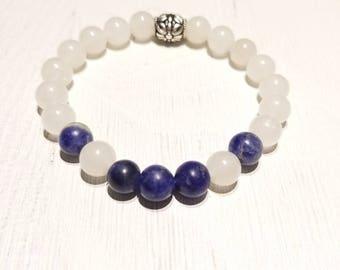 Sodalite & Clear Quartz Healing Gemstone Bracelet