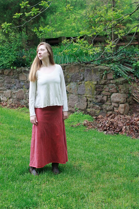 Lovely Day Skirt in Organic Cotton Fleece, Long Maxi A-line Winter Skirt, Sweatshirt Skirt, Eco Friendly Clothing