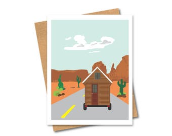 Tiny Home on Wheels Desert Card - Travel - Retirement - Road Trip - USA