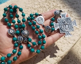 St. Benedict ~teal Jade Rosary Handmade with Love, hand knotted on black nylon cord, ornate pater beads, large medal.