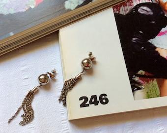 Dione - Vintage Earrings -90s Earrings - Drop Earrings - 80s  Disco Ball Earrings - Metal Chain Tassel - Grunge - 1990 Earring