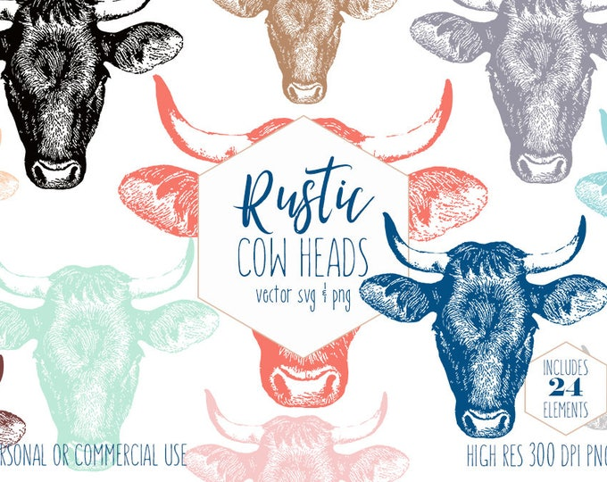 COUNTRY COW HEAD Clipart for Commercial Use Rustic Farm Animal Clip Art Bull with Horns Digital Graphics Cow Head Vector Digital Download