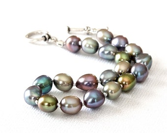 Freshwater Pearl Bracelet, Handmade Beaded Bracelet, Peacock Jewelry, Designer Bracelet, Real Pearl Bracelet, Keepsake Jewelry for Women