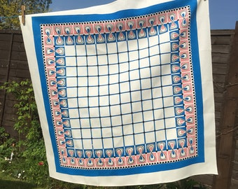 Vintage Tablecloth - Blue and Pink with swirls, spots and checks - Excellent condition