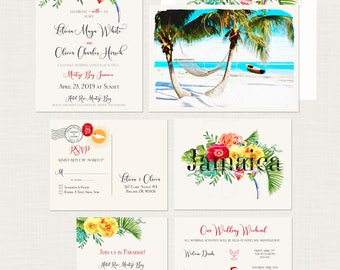 Destination wedding Jamaica Montego Bay Negril tropical paradise floral illustrated wedding invitation Jamaican wedding Deposit Payment