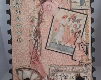 Display card on stand using A Ladies Diary by Graphic 45