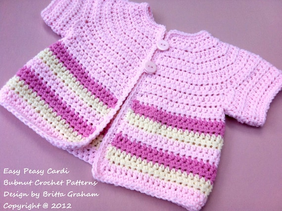 Easy Peasy Baby Sweater Cardigan Crochet Pattern No907