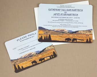 Yellowstone Wyoming Lamar Valley with Buffalo 5x7 Wedding Invitation with RSVP Postcard includes A7 Envelopes