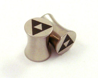 """Tri Force 316L Steel Plugs - Double Flared - 6g 4g 2g 0g 00g 7/16"""" (11 mm) 1/2"""" (13mm) 9/16"""" (14mm) Triforce Gamer Metal Gauges"""