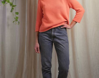 90s Pendleton cotton knit sweater / peach sherbet color / boat neck / 90s boxy cropped knit / small