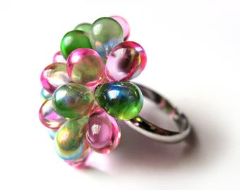 Cluster Ring, Watermelon Berry Ring, Cocktail ring Pink & Green, Fuschia Lime Bead Ring, Funky Statement Ring, Glass Ring, Ready to ship