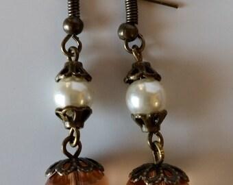 Dark Peach Circle Faceted Earrings