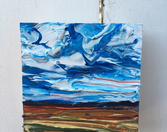 4x4 inch (1-5/8 inch sides) Original Acrylic Alberta Prairie Landscape Painting on Birch - 'we were happy'